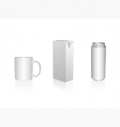 Mug juice packing and can vector