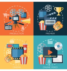 Flat design concepts for cinema movie production vector