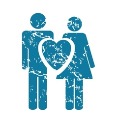 Grunge couple in love icon vector