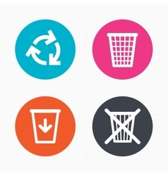 Recycle bin icons reuse or reduce symbol vector