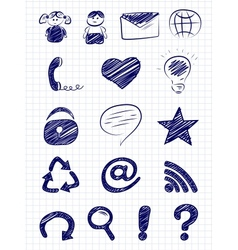 Hand drawn internet and web icons vector