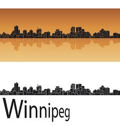 Winnipeg skyline in orange background vector
