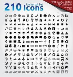 210 icons universal set vector