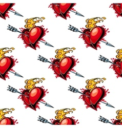 Flaming red heart pierced by an arrow vector