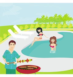 Barbecue party on the pool vector