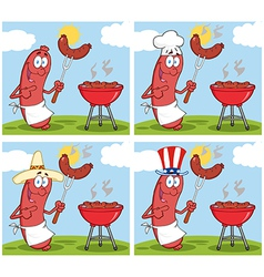 Sausage on picnic collection vector