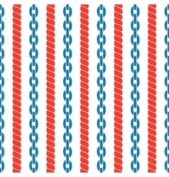 Seamless striped pattern with ropes and chains vector