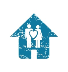 Grunge family house icon vector