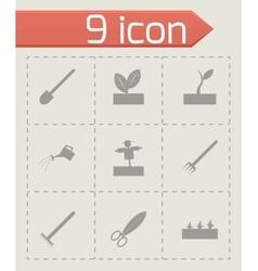 Black farming icon set vector