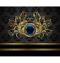 Gold vintage frame for design packing - vector