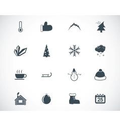 Black winter icons set vector