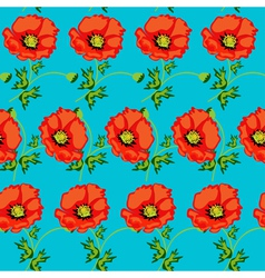 Green seamless background with flowers vector
