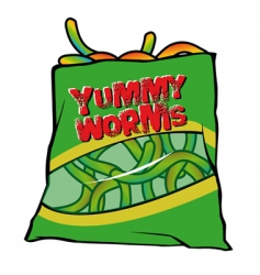 Yummy worms candy vector