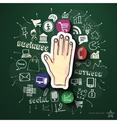 Hand collage with icons on blackboard vector