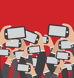 Smartphones in hands social network concept vector