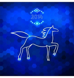 Blue geometric horse silhouette vector