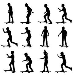 Set of skateboarders silhouette vector