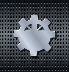 Metal gear label on the grid vector