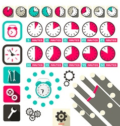 Time - clock symbols set vector