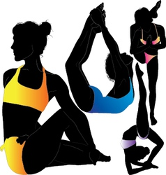 Yoga female gymnast silhouette vector