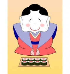 Geisha with sushi vector