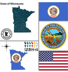 Map of minnesota with seal vector