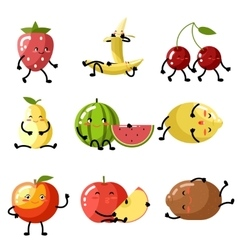 Fresh fruit apple cherry watermelon kiwi vector