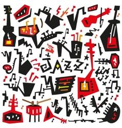 Jazz instruments - doodles set vector