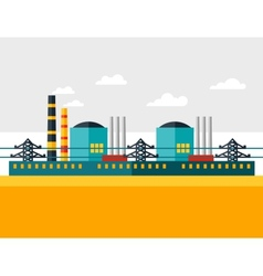Industrial nuclear power plant in flat style vector