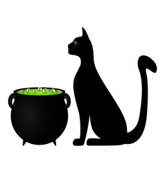 Cat and cauldron potion vector