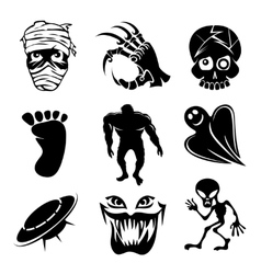 Set of ghost ghouls and alien icons vector