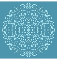 Round lacy vintage pattern on blue background vector
