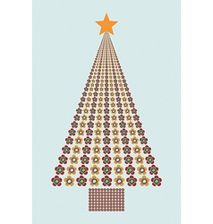 Flower colors christmas tree vector