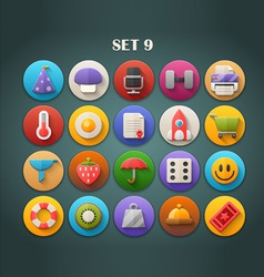 Round bright icons with long shadow set 9 vector