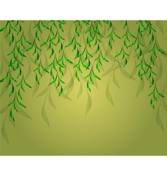 Yellow-green background with green leaves eps vector
