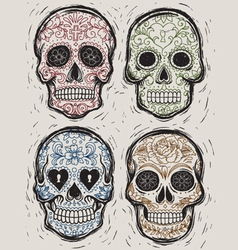Woodcut day of the dead sugar skull set vector
