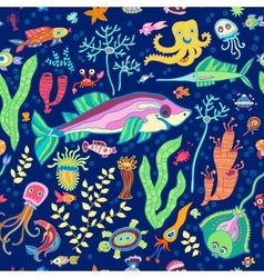 Bright concept underwater seamless pattern vector