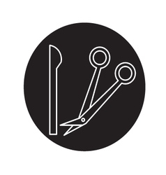 Knife and scissors doctor icon vector