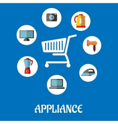 Flat household appliances icons vector