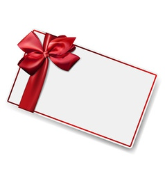 White paper card with gift red satin bow vector