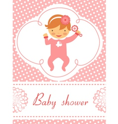 Baby shower girl with rattle vector