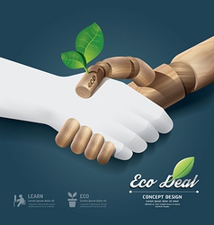 Eco deal concept with hand wood vector