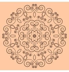 Round lacy brown pattern on beige background vector
