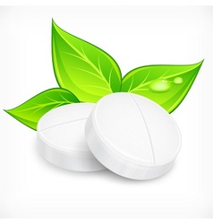 Pills natural on white vector