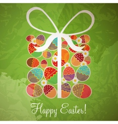 Easter card template - gift box from eggs vector