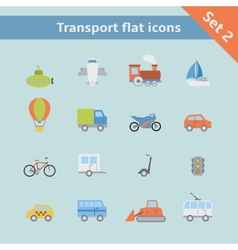 Transportation flat icons set vector