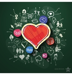 Heart collage with icons on blackboard vector