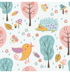 Cartoon forest seamless pattern vector