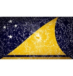 Flags tokelau with broken glass texture vector
