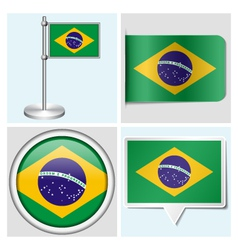 Brazil flag - sticker button label flagstaff vector